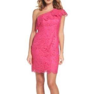 Eliza J One-Shoulder Pink Lace Ruffle dress, Sz 8
